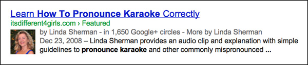 Result of Googling How to Pronounce Karaoke screen shot