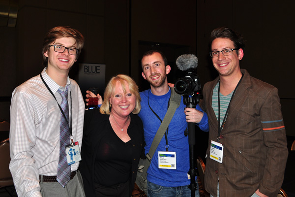 Adryenn Ashley with Jared Rauso, Kyle Copeland and Clark Buckner NMX photo by Linda Sherman
