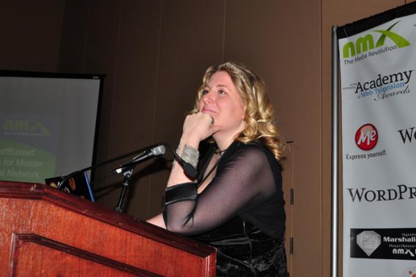 Amanda Blain presenting at NMX 2014 photo by Linda Sherman