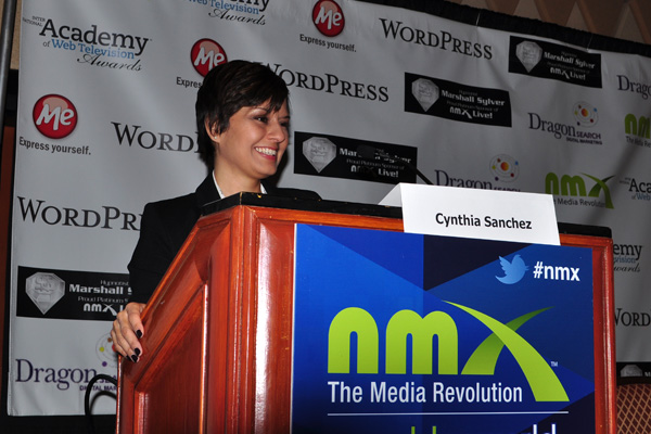 Cynthia Sanchez Pinterest expert at the NMX podium