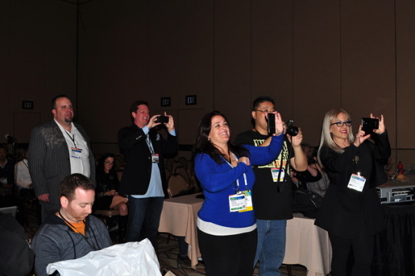Paparazzi shooting Amanda Blain before her GooglePlus presentation: Lori Moreno, KristiTrimmer, Calvin Lee, Richard Krawczyk, Adam Helwehphoto by Linda Sherman