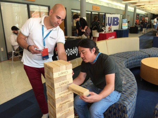 SiteGround Jenga game at WCMIA